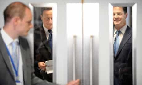 David Cameron and Nick Clegg at Guy's