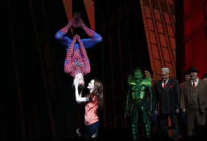 Spider-Man musical: Reeve Carney is kissed by fellow cast member Jennifer Damiano