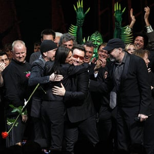 Spider-Man musical: The Edge hugs director Julie Taymor and Bono