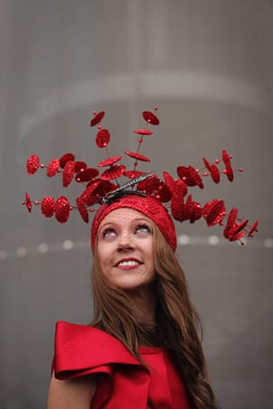 Ascot Ladies Day: A racegoer poses for a photograph