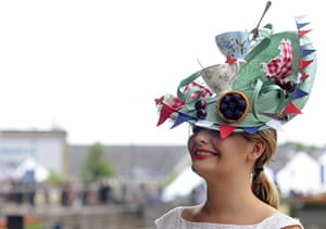 Ascot Ladies Day: A lady shows off her a fancy hat