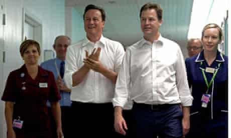 David Cameron and Nick Clegg at Guy's hospital this wee