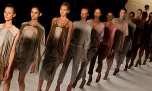 Brazilian models on the catwalk during São Paulo Fashion Week