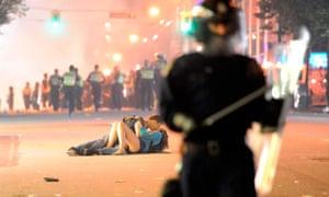 Vancouver couple kissing