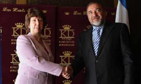 Catherine Ashton and Avigdor Lieberman prior to their meeting in Jerusalem