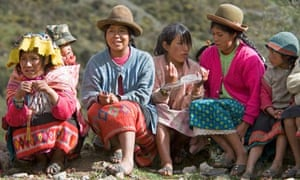 Local Peruvian people in traditional dress