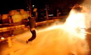 Kurdish demonstrators throw molotov coktails