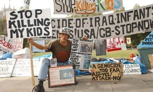 Brian Haw's  tent and collection of hand-written posters became a familiar sight in Parliament Sq
