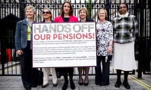 MP Rachel Reeves protests about state pension age increase.