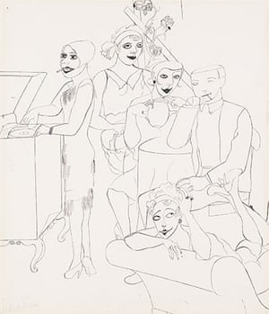 Government Art Collection: Edward Burra 'Jazz Fans' c1928-1929, Pen and ink drawing