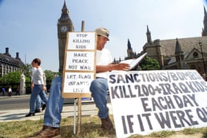 brian haw: utside parliament a month after he started his protest, July 2001