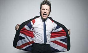 Jamie Oliver in a union flag jacket