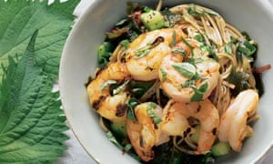 Green tea noodles with green prawns