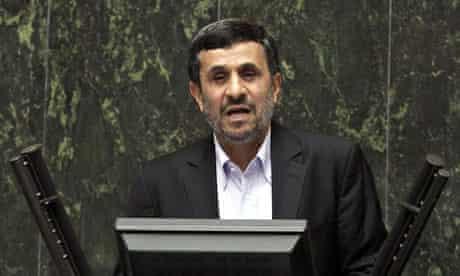 Iran's president Mahmoud Ahmadinejad speaks at the Iranian parliament