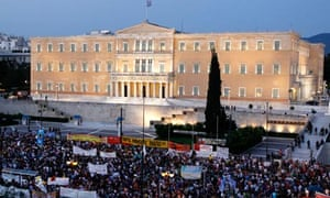 Demonstrators outside the Greek parliament