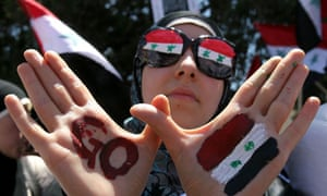 Syrian protester hands painted