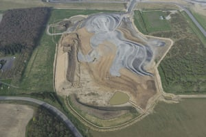 Charles Jencks: Aerial view of the construction of Northumberlandia