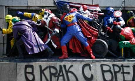 Soviet war monument in Sofia, street art