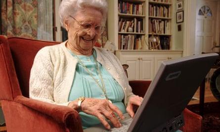 Elderly Woman Using Laptop
