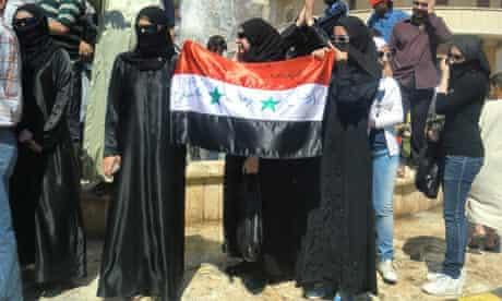 Protesters in Deir al-Zour in Syria