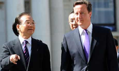 David Cameron and the Chinese premier, Wen Jiabao