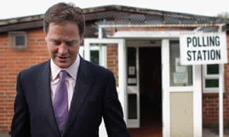 Nick Clegg votes in the AV referendum