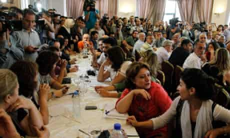 Syrian opposition intellectuals during a deliberative meeting held in Damascus