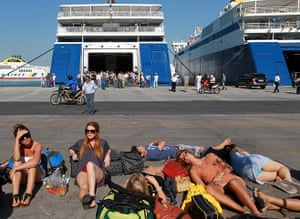 Greece strikes : Tourists tranded at  the port of Piraeus, Greece