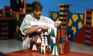 Janet Ellis makes Christmas cards on Blue Peter