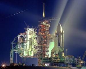 Space shuttle: A timed exposure of the Space Shuttle, STS-1
