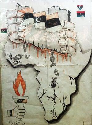 Gaddafi street art: chains