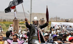 An anti-government protestor in Sana'a, Yemen, 3 June 3, 2011.