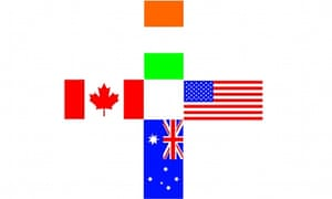Four flags of Australia, Canada, Ireland and USA in healthcare symbol