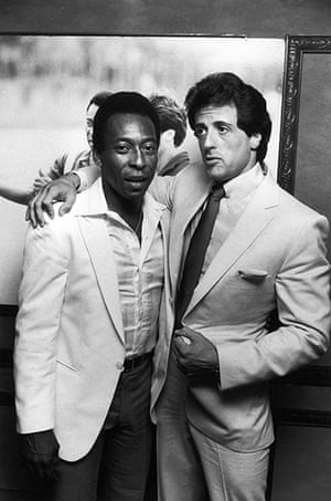 fancy meeting you here: Soccer star Pele w actor Sylvester Stallone