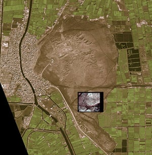 Satelitte Eye on Earth: pattern of streets and houses in the buried ancient city of Tanis, Egypt