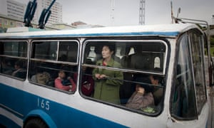 Woman on a bus in Pyongyang