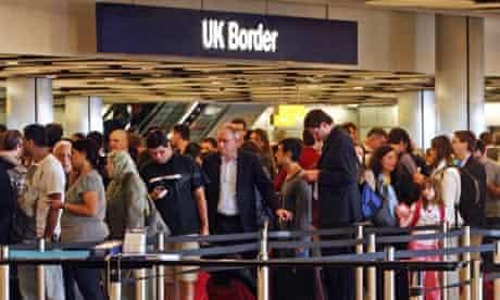 Queues in terminal 5 of London's Heathrow airport