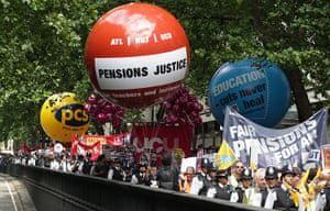 Public sector strikes: Public sector workers take part in a march through London