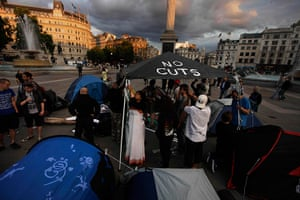 Public sector strikes: Activists put up tents in Trafalgar Square ahead of the strikes
