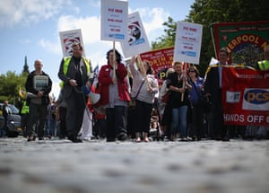 National strikes: Public sector workers take part in a march in Liverpool