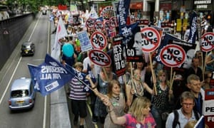 Thousands of public sector workers and teachers march through London