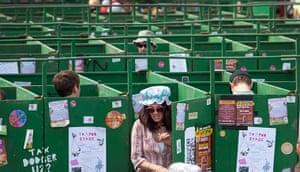 Glastonbury: Someone exits the toilets, Glastonbury festival