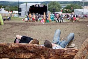 Glastonbury 2011: Revellers relax in the Park Area