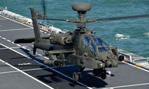 Apache helicopter on HMS Ocean