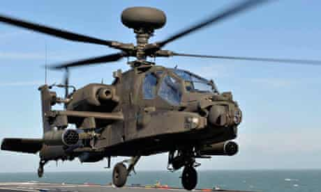 An Army Air Corps Apache attack helicopter on HMS Ocean