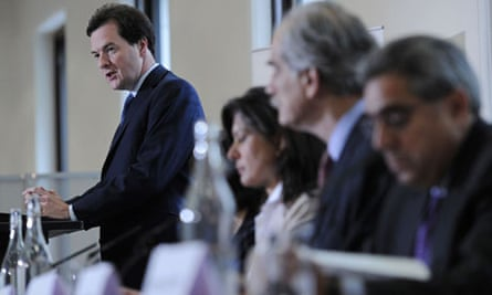 George Osborne speaks at a press conference at the Treasury