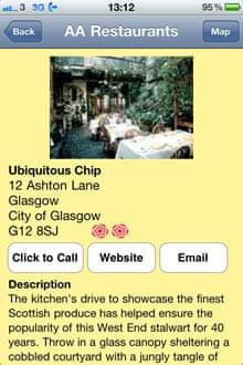 AA Restaurant Guide 2011 app