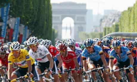 Cyclists on the Champs-Elysees in the 2008 Tour de France