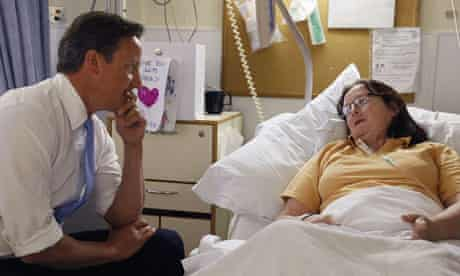 David Cameron with an NHS patient