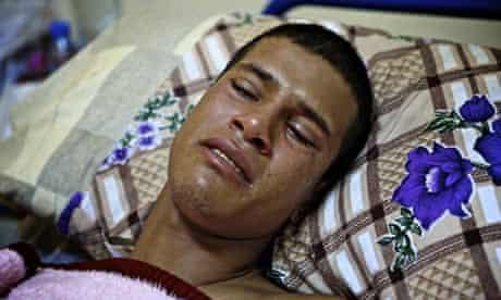 Misrata, Libya  wounded rebel fighter